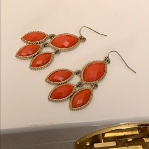 Orange and Gold Tiered Earrings